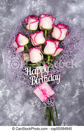 Red White Rose Flower Bouquet With Pink Gift Box On Stone Table