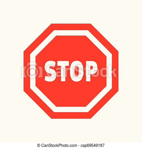 Red, white stop, attention, warning icon. - csp69549187