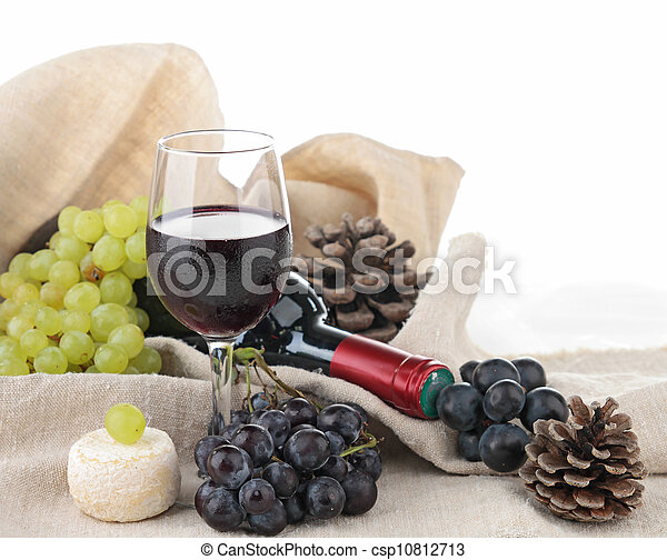 red wine and grapes - csp10812713