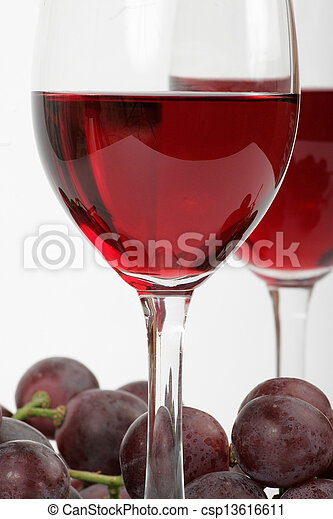 Red wine and grapes - csp13616611