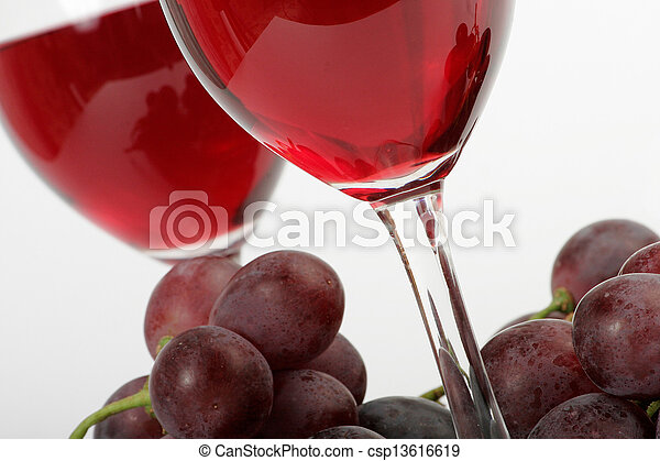 Red wine and grapes - csp13616619