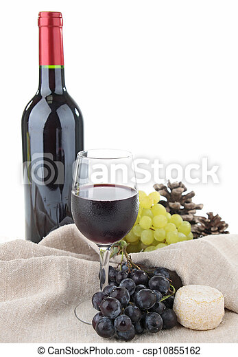 red wine and grapes - csp10855162