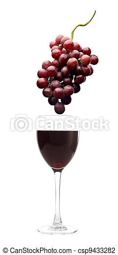red wine and grapes - csp9433282