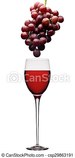 red wine and grapes - csp29863191