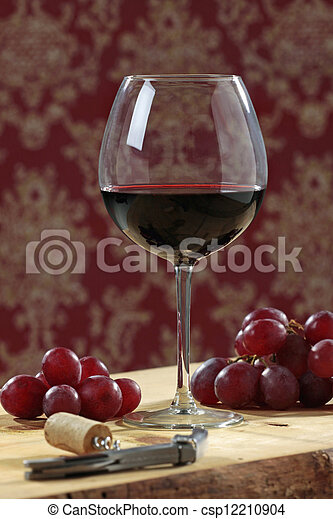 red wine and grapes - csp12210904