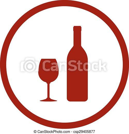 Red wine bottle and glass in round frame on white background.