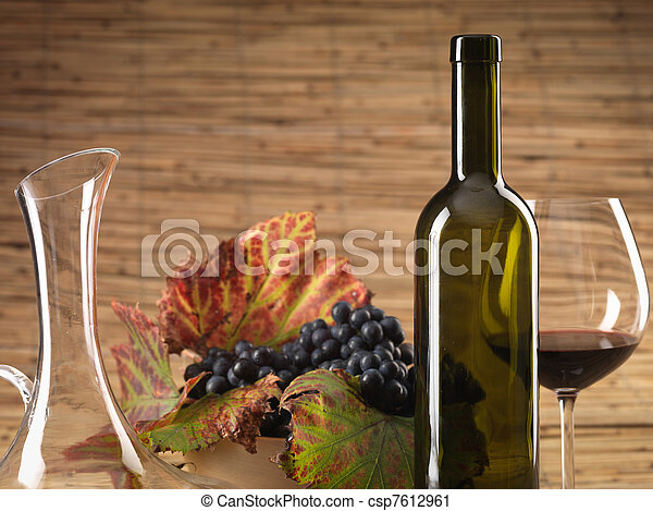 red wine bottle, glass, grapes, decanter rustic - csp7612961