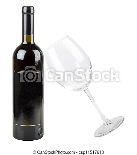 Red wine bottle with glass - csp11517618