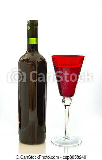 red wine bottle with glass - csp8058240