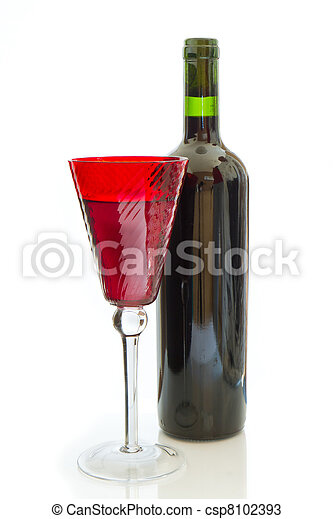 red wine bottle with glass - csp8102393