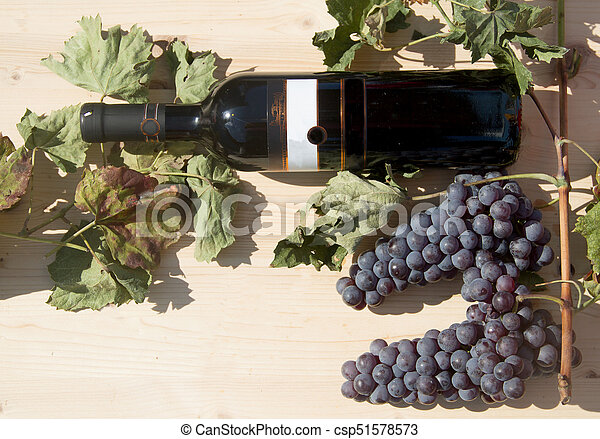 Red wine bottle with grapes - csp51578573