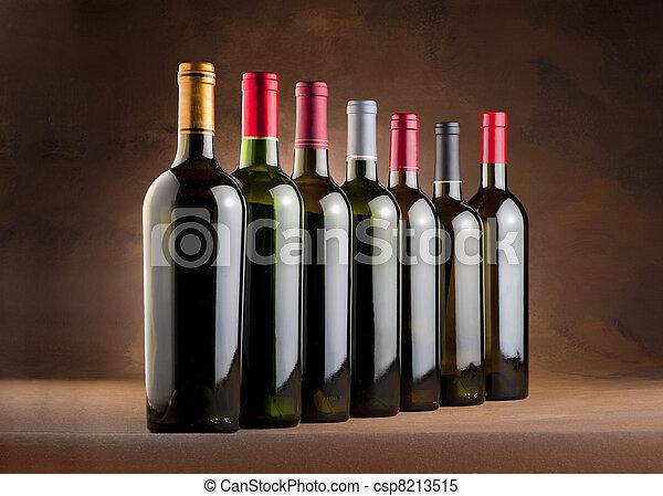 Red wine bottles - csp8213515