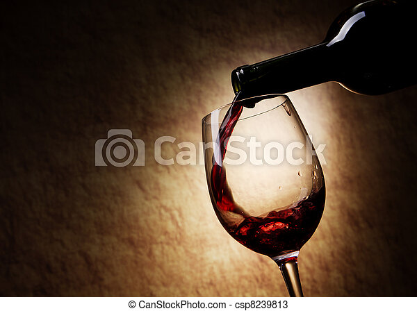 Red Wine glass and Bottle - csp8239813