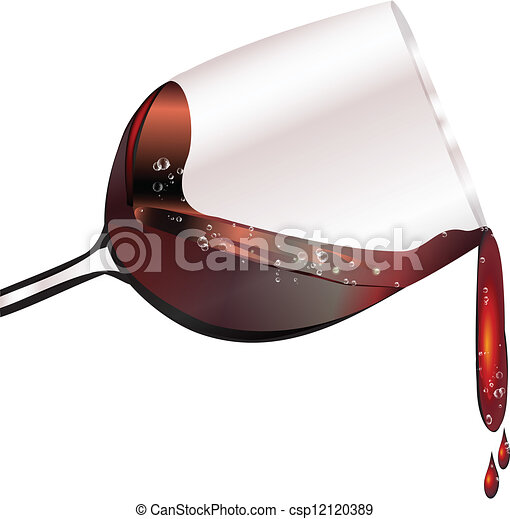 Red wine in a glass spilling - csp12120389