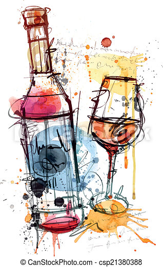 Red Wine Water Color - csp21380388