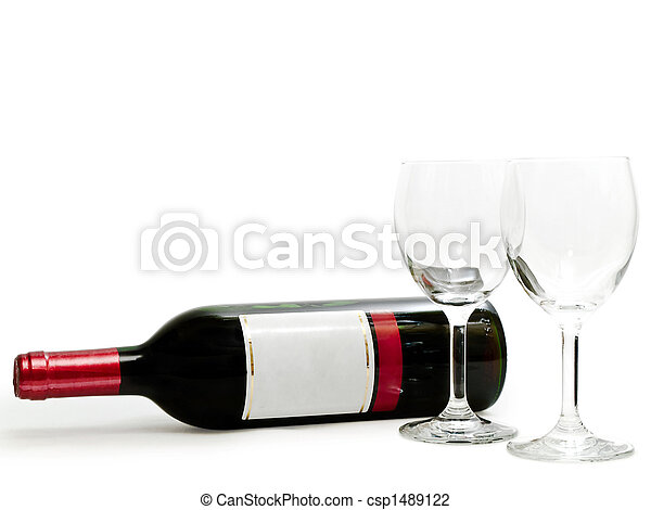 red wine with wineglasses - csp1489122