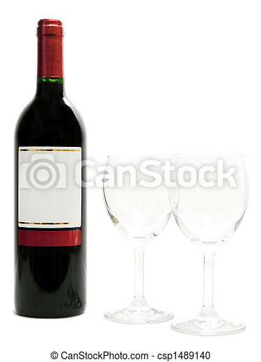 red wine with wineglasses - csp1489140
