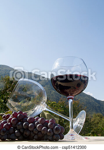 red wineglass with grapes - csp51412300