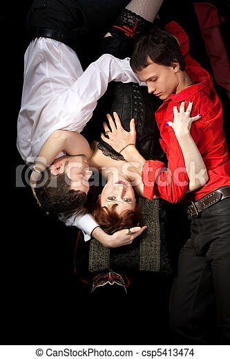 red woman in mask and two men - love triangle - csp5413474