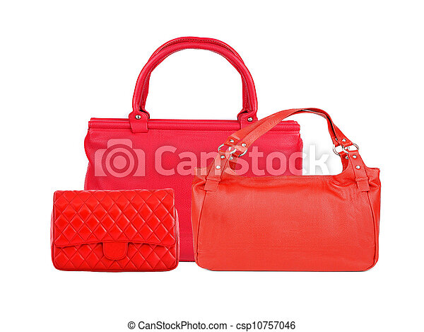 d28baca03d52f Red women bags isolated on white background - csp10757046