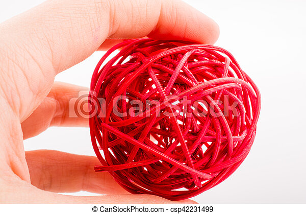 red wooden ball on a white background - csp42231499