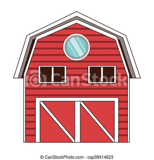 red wooden barn icon - csp38414623