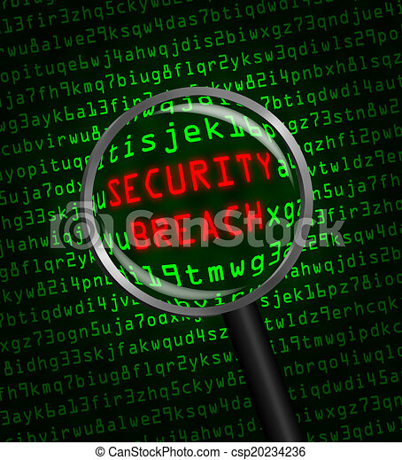"Red word ""SECURITY BREACH"" revealed revealed in green computer machine code through a magnifying glass. - csp20234236"
