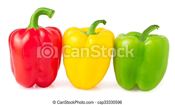 Red, yellow and green bell peppers on a white background - csp33330596