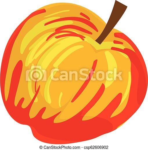 Red yellow apple icon, cartoon style - csp62606902