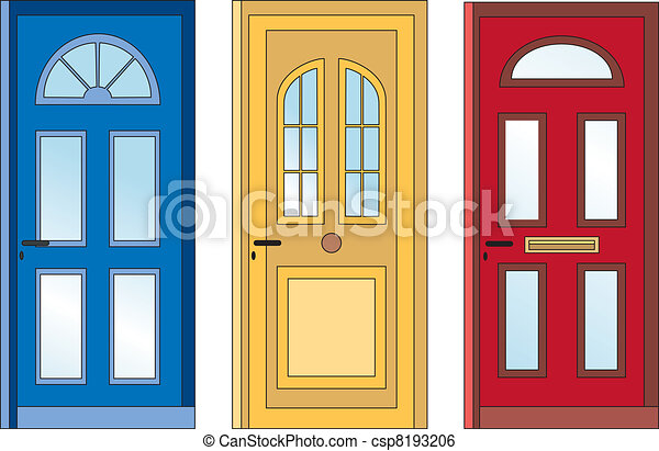 front door clipart. Red Yellow Blue Doors - Csp8193206 Front Door Clipart P