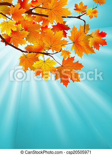Red yellow fall maple leafs over sky. EPS 8 - csp20505971