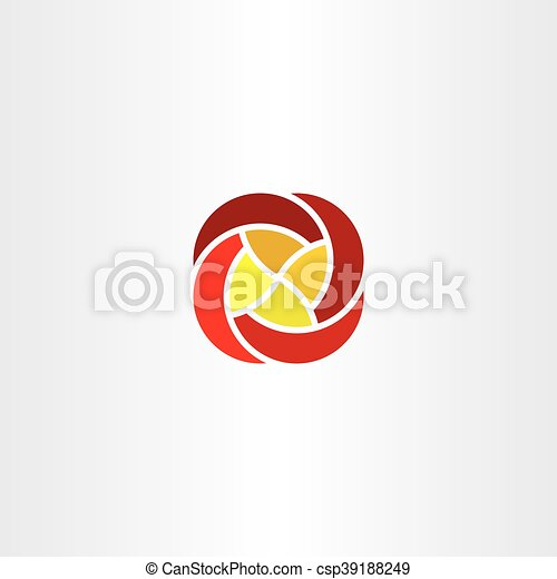 Red Yellow Flower Business Tech Logo Icon Vector Sign Red Yellow