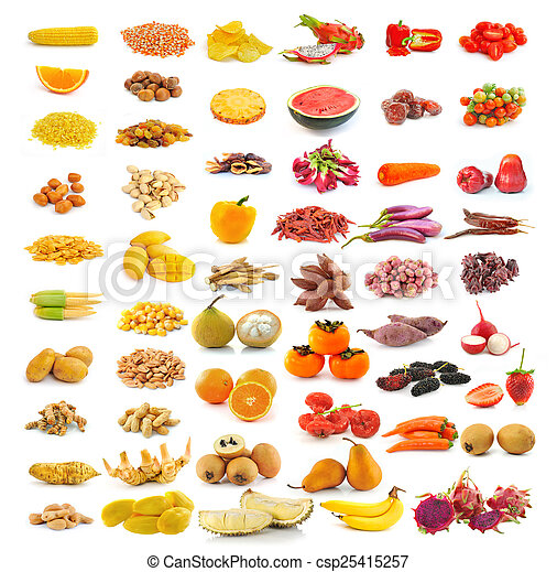 red yellow food collection isolated on white background - csp25415257