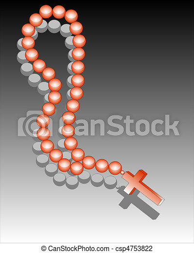 Reddish beads with a cross - csp4753822