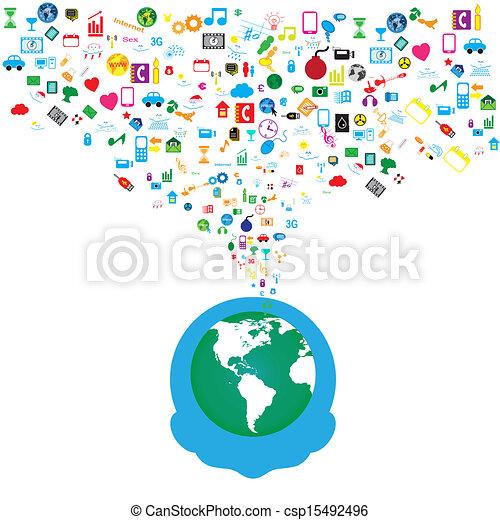 rede, ícones, mídia, fundo, social, homem - csp15492496