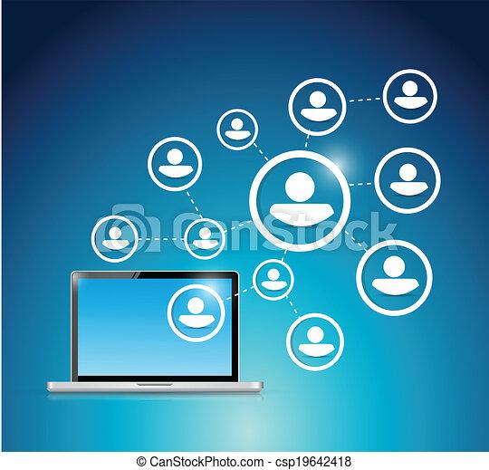 rede computador, social - csp19642418