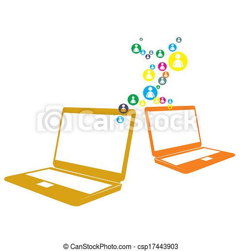 rede computador, social - csp17443903