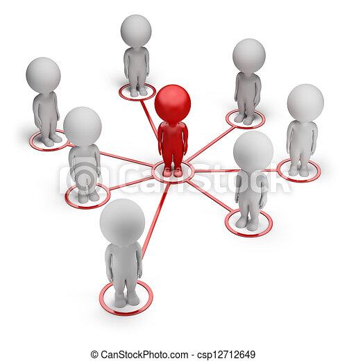 rede, pessoas, -, pequeno, sócio, 3d - csp12712649