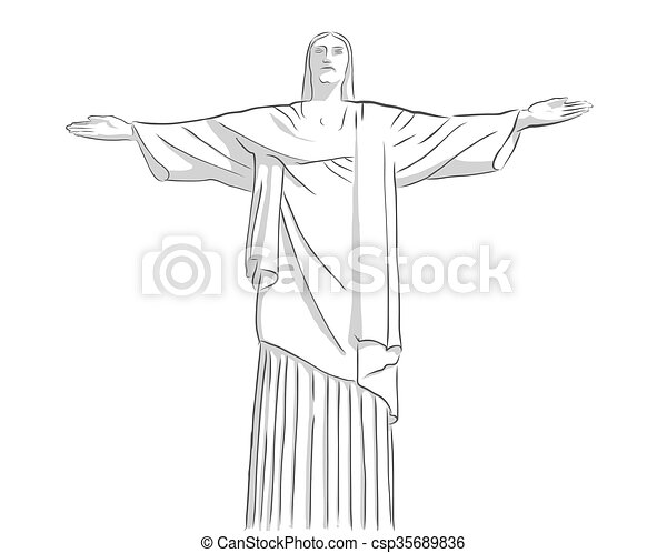 redentor, bosquejo, cristo, estatua, contorno - csp35689836