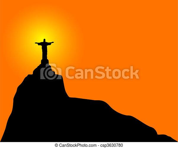 redentor, cristo, (statue) - csp3630780