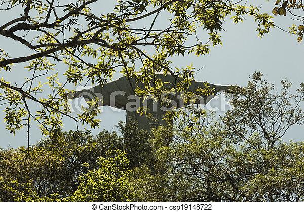 Cristo la estatua redentor con ramas en frente - csp19148722