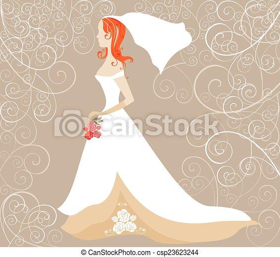 redhead, 花嫁, カード, 結婚式 - csp23623244