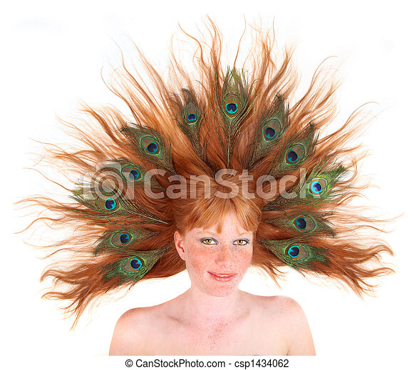 Redhead With Peacock Feathers in Her Hair - csp1434062