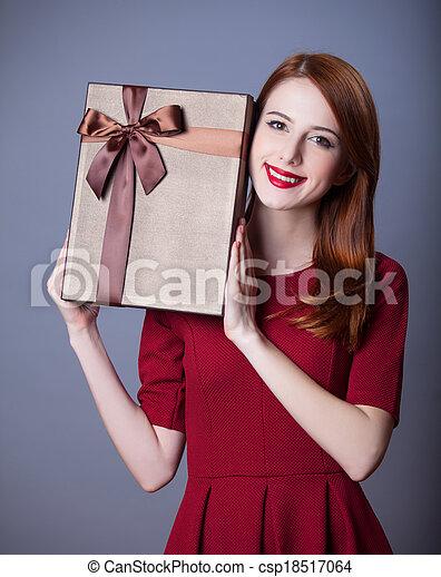 Redhead woman with shape heart box - csp18517064