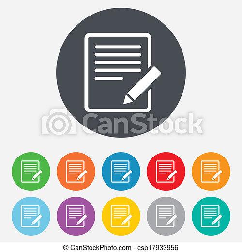redigere, button., segno, contenuto, icon., documento - csp17933956