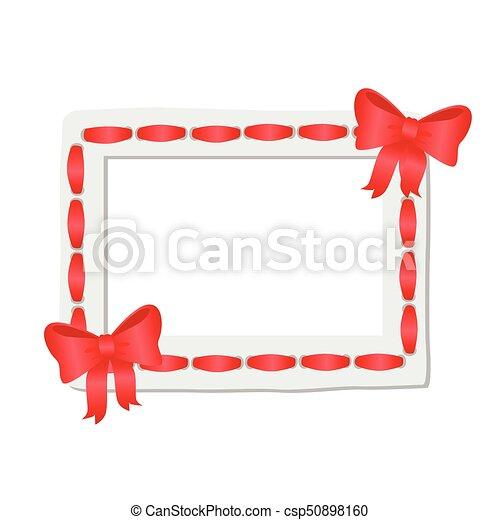 Redondeado, marco, bordes, cinta, adornado, rojo blanco. Ruddy ...