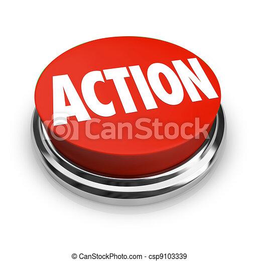 La palabra de acción sobre el botón rojo es activa - csp9103339