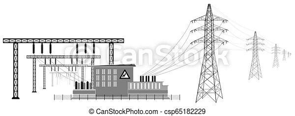 subestación eléctrica con líneas de alto voltaje. Transmisión y reducción de energía eléctrica. - csp65182229