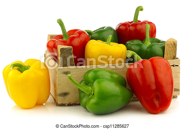 red,yellow and green bell peppers  - csp11285627