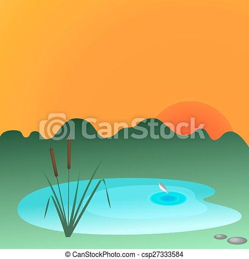 Reeds and lake - csp27333584